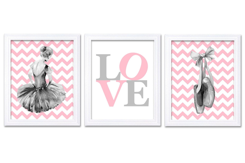 Watercolor Ballerina Nursery Decor Ballerina Nursery Wall Art Set of 3 Prints Poster Pink Grey LOVE