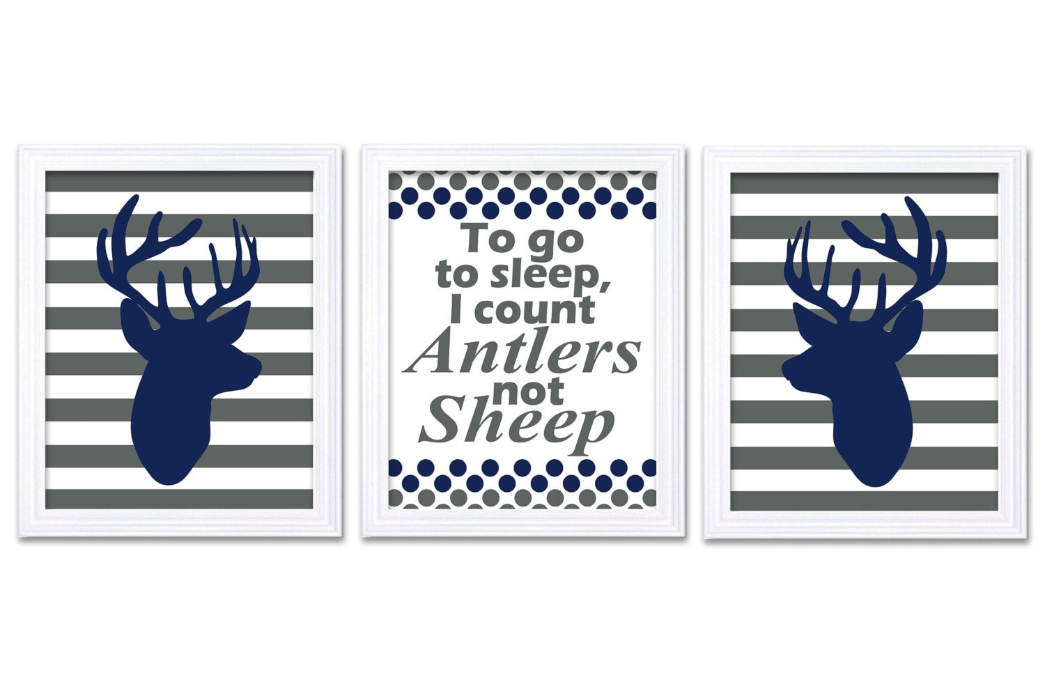 Navy Blue Grey Deer Nursery Art Deer Head Prints Set of 3 To Go To Sleep Count Antlers Stripes Baby