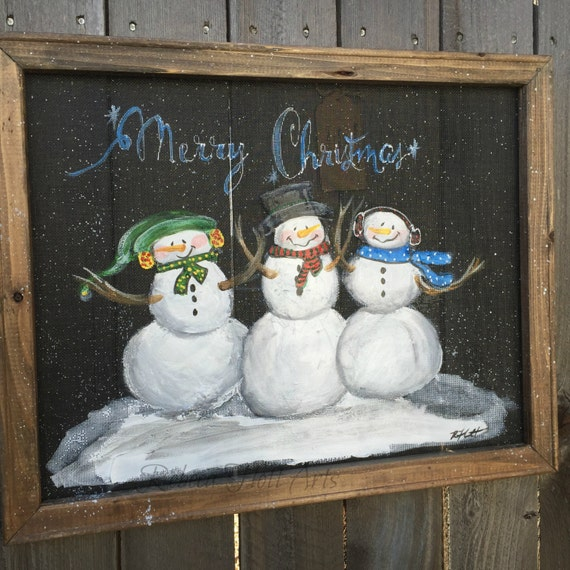 Items Similar To Holiday Snowman Trio Hand Painted