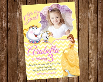 Beauty and the Beast, Princess Belle, Birthday Party Invitation - Digital or Printed with FREE SHIPPING