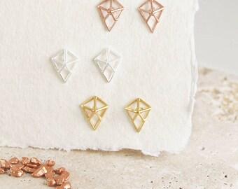Kite Stud Earrings, Silver Studs, Stud Earrings, Kite Studs, Diamond Earrings, Wire Stud, Wire Earrings, Sterling Silver, Geometric Earrings