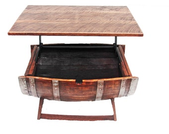 Wine Barrel Coffee Table/ coffee table/Home decor/ Indoor furniture/ outdoor furniture/ desk/ tray top table/table