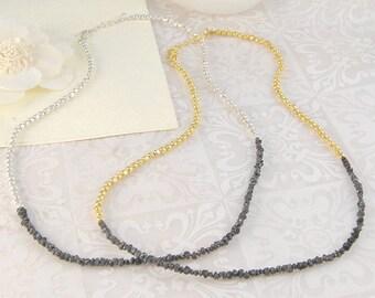 Black Diamond Necklace, Rough Diamond Necklace, Silver Necklace, Gold Necklace, Fine Diamond, Fine Jewellery, Boho Necklace, Diamond Jewelry