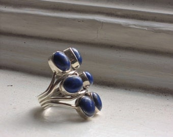 Sterling silver boho woman lapis festival ring gypsy
