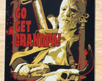 Texas Chainsaw Massacre Grandpa Vinyl Sticker 3 in x 4 in