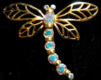 Vintage Dragonfly Brooch Gold Tone Metal Rainbow Crystals