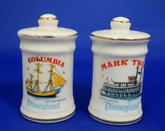 Vintage Salt & Pepper Shaker Set Disneyland Mark Twain Paddlewheeler Columbia