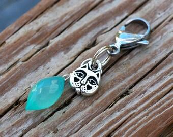 Aqua Chalcedony Cat Collar Charm; Gemstone Cat Jewelry