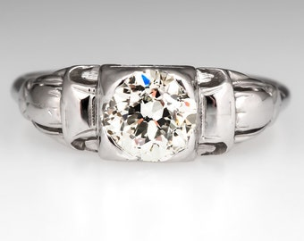 1930's Late Art Deco Old Euro Solitaire 18K White Gold Engagement Ring WMX10269