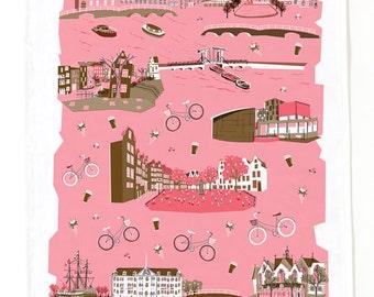 Amsterdam Tea Towel-Home Goods-Kitchen-Pink-Brown-Grey-17 x 28