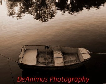 Row Boat in sepia