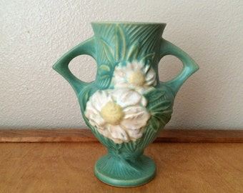 Roseville Pottery Vase - Green with White Daisy