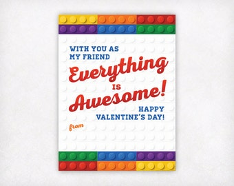 Printable Kids Valentine Card, Lego Valentines Day Cards, Boys Valentine Cards, Kids Valentine's Day Cards, Everything is Awesome Valentine