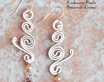 Flowers in Rain Earrings: Pearl and Sterling Silver Drop Dangle Earring