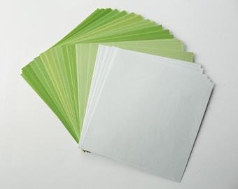 Origami Paper, 70 sheets, 15x15cm, various green hues