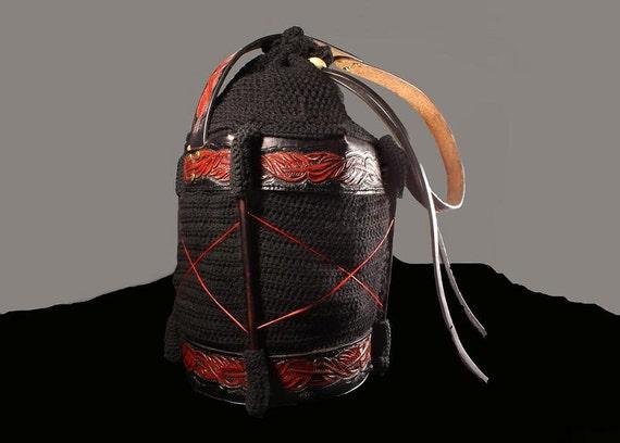 Tote Bag, Boho Chic, Luxury Bag, Drawstring Bag, HandTooled Leather, Leather Bag, Crochet Bag, Original Design, OOAK, Large Drawstring Bag