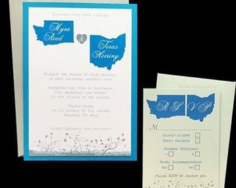 Gray Teal and White two states wedding invitation suite