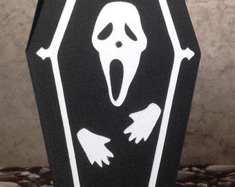 "Halloween coffin greeting card ""Scream"""