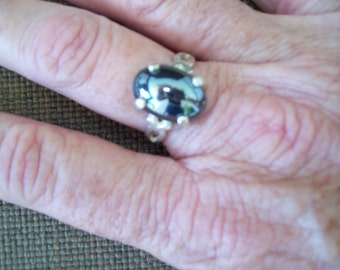 Hematite Cabochon Ring in Sterling Silver - Size 7