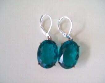 Sterling Silver Earrings - Paraiba Blue