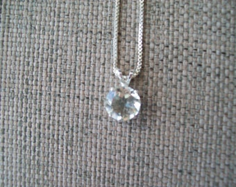 Pale Green Amethyst Prasiolite 10mm Pendant in sterling silver with chain