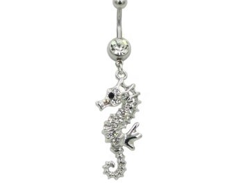 Belly Ring Beautiful Silvertone SEAHORSE Hippocampus Crystal Jeweled Clear Gems 14 gauge Stainless Steel Navel Piercing Body Jewelry