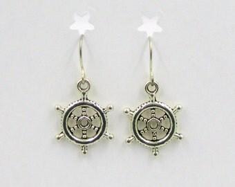 Earrings Nautical SHIP'S WHEEL Silvertone Charms on Stainless Steel Pierced Ear Wire Jewelry