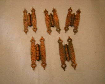 set of 5 hinges-copper style hinges-replacements-art-crafts-assemblage-supplies-hardware-retro-
