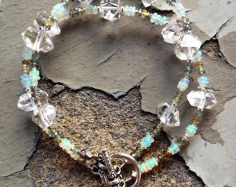 Herkimer Diamond and Fire Opal Bracelet