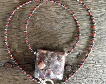 Garnet in Druzy, Pyrite and Garnet Necklace