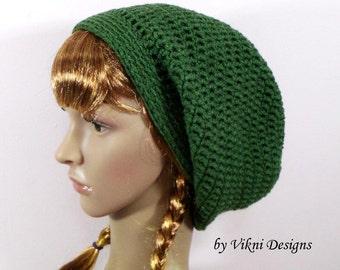 Green Winter Crochet Slouchy Hat, Women Hat, Green Crochet Womens Knit Beanie by Vikni Designs