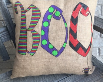 "Halloween Pillow, Halloween ""BOO"" Burlap Pillow"