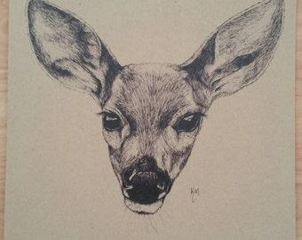 Deer Original Art Print (A3)