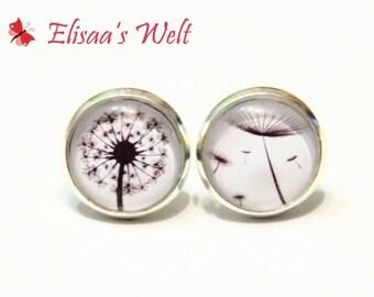 Stud earrings dandelion black and white