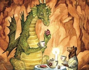 Tea Time with the Dragon (art card)
