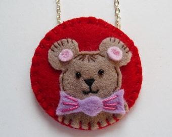Felt Teddy Bear Pendant, Felt Teddy Bear Necklace, Valentine Bear, Valentine Pendant, Valentine Jewelry, Animal Pendant, Animal Jewelry