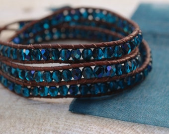 Teal faceted Leather wrap bracelet, beaded leather bracelet, bead bracelet, leather bracelet, womans gifts, jewelry gifts, woven bracelet