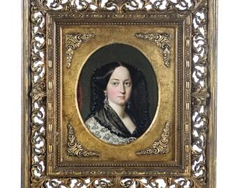 Exquisite Victorian Woman -original 19th century Portrait -oil painting