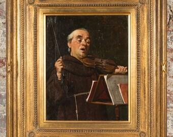 Luigi Scaffai -Monk Playing the Violin-19th century Oil Painting c.1860s