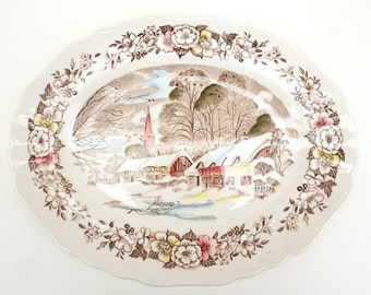 Oval Serving Plate, J & G Meakin, Winter Country Life, Christmas  Serving Ware, Snowy Village Plate, Staffordshire Plate, Rural Scene Plate