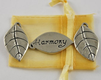 Set of 3 Leaf Harmony Inspiration Coins with Organza Bag
