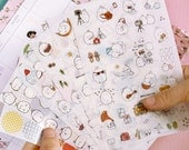 silly round rabbit v.2 stickers set - daily scrapbook deco transparent sticker - label planner korean sticker - 6 Sheets