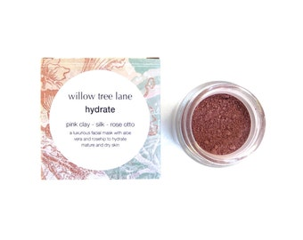 Hydrate Face Mask with Rosehip, Silk, Quinoa and Rose Otto. Cleansing Grains, Clay Mask