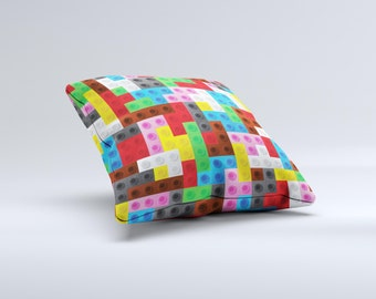 The Neon Colored Building Blocks  ink-Fuzed Decorative Throw Pillow