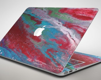 Abstract Wet Paint Red and Blue - Apple MacBook Air or Pro Skin Decal Kit (All Versions Available)