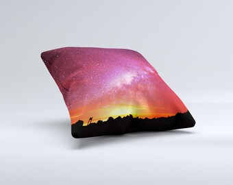 The Beautiful Milky Way Sunset ink-Fuzed Decorative Throw Pillow