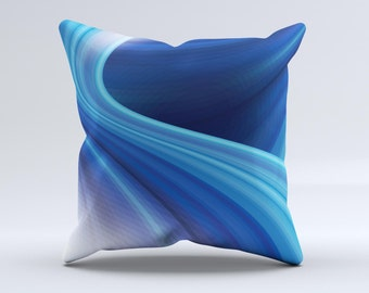 The Gradient Waves of Blue  ink-Fuzed Decorative Throw Pillow
