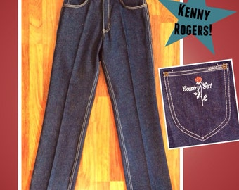 Vintage 1980's/80's, KENNY ROGERS Western Collection: Sz 27/32, s/m Small/Medium, New Dark Wash High Waisted Rise Rodeo Country Girl Jeans