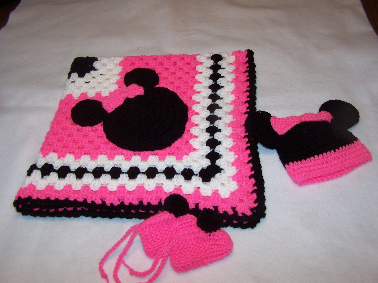 Hand Crocheted Minnie Mouse Granny Square Baby Blanket