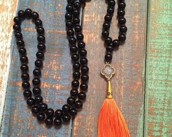 Oklahoma State, OSU Inspired Tassel Necklace, Black Beads & Orange Tassel